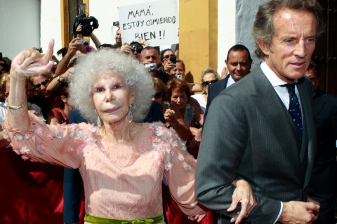 Spain's Duchess of Alba Cayetana Fitz-James Stuart y Silva and her husband Alfonso Diez wave after their wedding in Seville