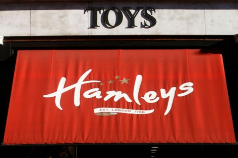 A pedestrian walks past the Hamley's toy shop, owned by Icelandic holding company Baugur, in central London