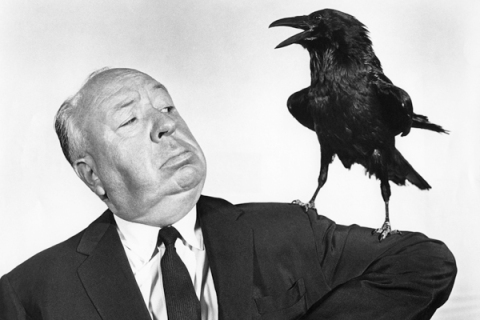 """Alfred Hitchcock On the Set of """"The Birds"""""""