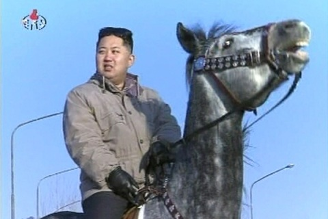 New leader of North Korea Kim Jong-un rides a horse in this undated still image taken from video at an unknown location