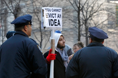 Occupy Wall Street demonstrators protest at Zuccotti Park in New York
