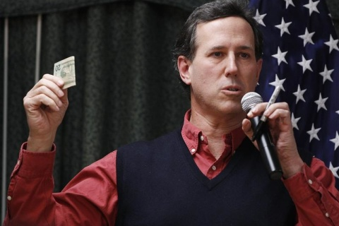 Republican presidential candidate and former Senator Santorum at Rockingham County Nursing Home in Brentwood, New Hampshire
