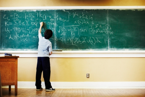 Boy doing math at chalkboard, Student, Class, School