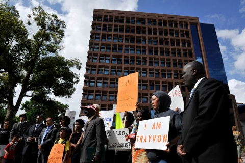 Residents of central Florida take part in a protest of Trayvon Martin's death