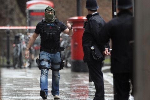 Armed Police Tackle Hostage Situation In Central London <> on April 27, 2012 in London, England.