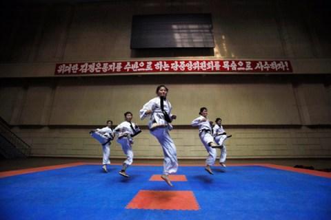 Girls train at Taekwondo Hall in Pyongyang