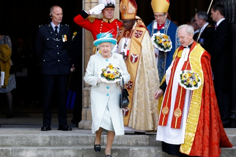 Britain's Queen Elizabeth leaves after the Maundy Service at York Minster in northern England