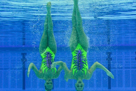 Lapi and Perrupato of Italy perform in the Duets Technical Routine during a synchronised swimming qualification event at the Aquatic Centre at Olympic Park in Stratford