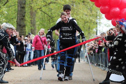 Clair Lomas completes the London Marathon after 16 days becoming the first paraplegic to complete any marathon.