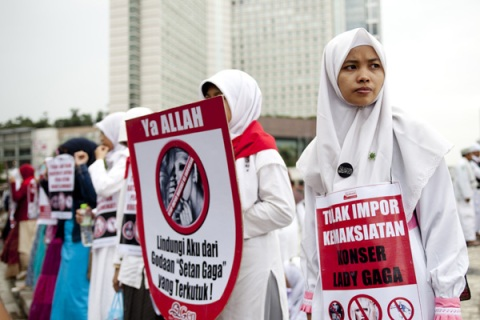 Muslim Activists take part in protest ag