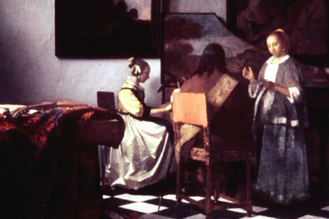 """Jan Vermeer's """"The Concert,"""" oil on canvas, painted circa 1658-1660"""