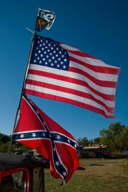 United States flag and Confederate flag