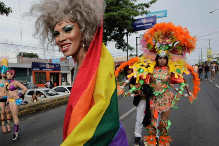 Members and supporters of LGBT community take part in a gay pride parade in Managua