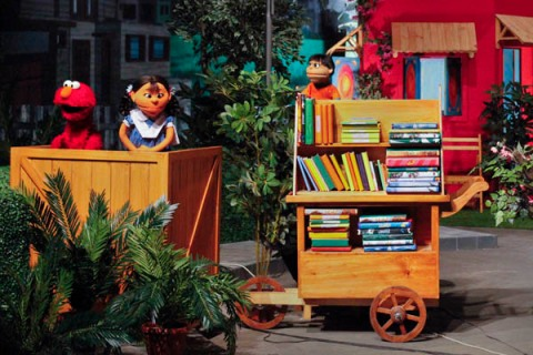 Sesam street characters with locally developed puppet characters perform at Rafi Peer Theatre Workshop in Lahore