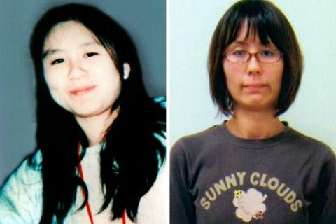 Combination handout photo of former AUM Shinrikyo cult member Naoko Kikuchi in 1995 and in 2012