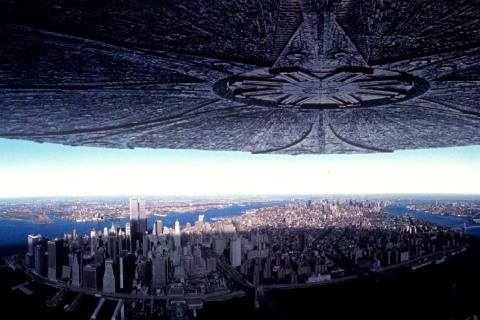"""A special effect shot from the blockbuster summer movie, """"Independence Day,"""" is shown as an alien sp.."""