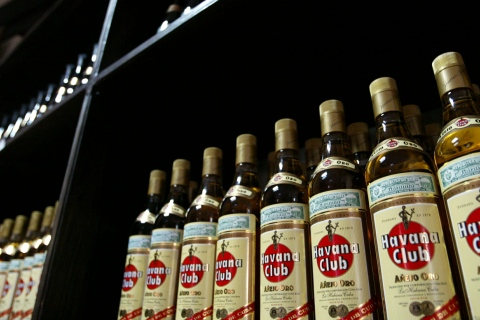 Bottles of Havana Club rum are put on display at the Museum of the Rum store in Old Havana, March 10..