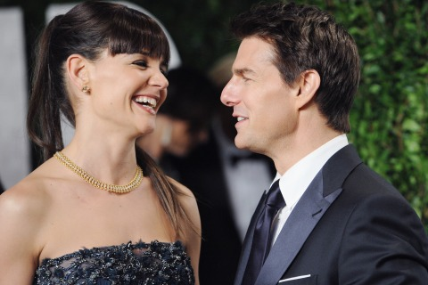 In happier days? The cracks TomKat's marriage weren't clear to see at 2012 Vanity Fair Oscar Party