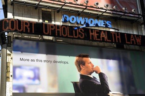 The Dow Jones tickertape  in Times Sqaur