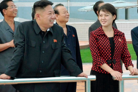 North Korean leader Kim Jong-Un and his wife, who was named by the state broadcaster as Ri Sol-ju, visit the Rungna People's Pleasure Ground in Pyongyang