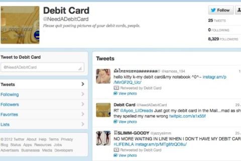 @NeedADebitCard Collects Tweeted Debit Card Photos