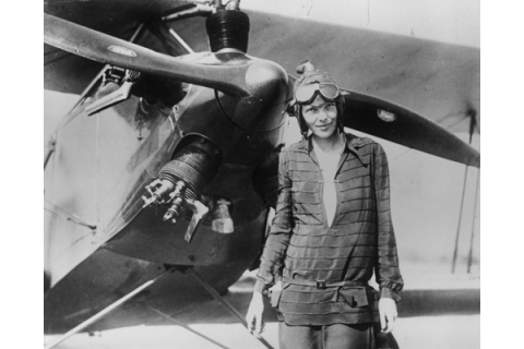 1) Ameila Earhart With Airplane