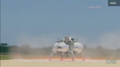 nasa experimental lander crash screengrab