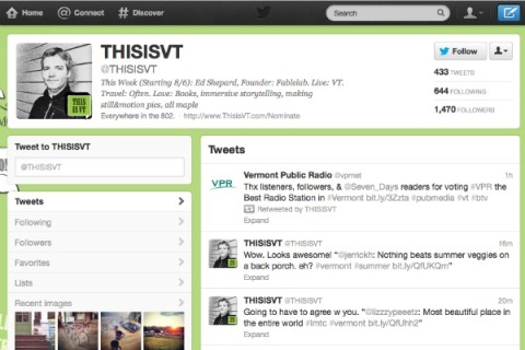 @ThisIsVT invites Vermont citizens to tweet for a week