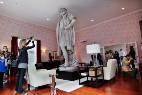 "Columbus Monument art installation titled ""Discovering Columbus"""