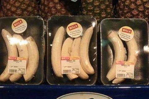 peeled bananas on sale at Billa
