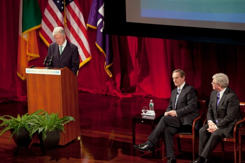 Former U.S. President Clinton speaks next to Ireland's Prime Minister Kenny