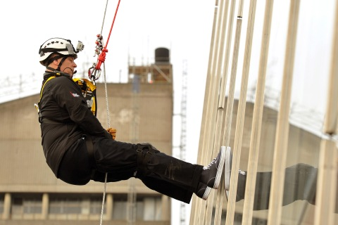 Britain's Prince Andrew abseils down the Shard building, Europe's tallest building, to raise money for educational charity the Outward Bound Trust and the Royal Marines Charitable Trust Fund in London