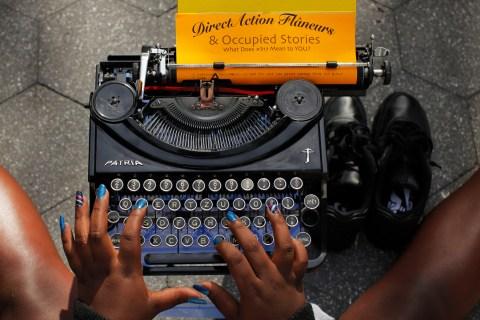 Occupy wall street typewriter
