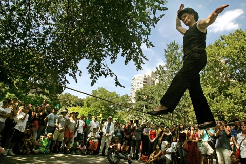Famed Aerialist Philippe Petit Performs In New York