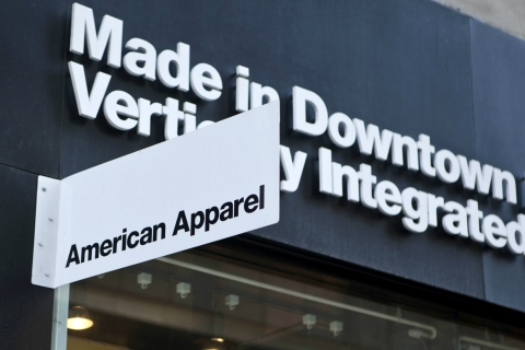 Image: American Apparel signage is displayed outside of a store in New York on April 6, 2011.