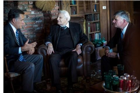 Republican presidential nominee Mitt Romney meets Billy Graham