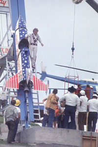 image: Evil Knievel attempts to jump a canyon on his X-2 Skycycle on September 8 1974 in Snake River Canyon, Idaho