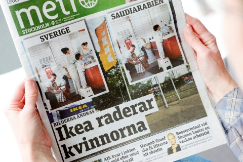 Front page of Metro daily newspaper comparing images for IKEA catalogues in Sweden and Saudi Arabia for next year