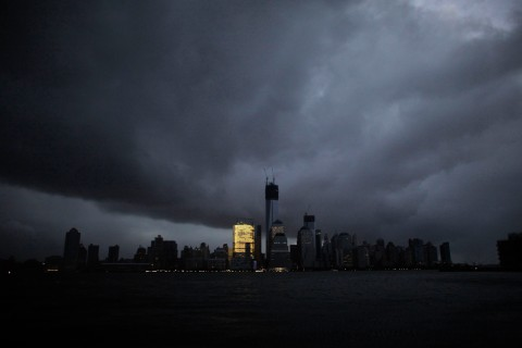 A general view shows the skyline of lower Manhattan in darkness after a preventive power outage caused by giant storm Sandy in New York