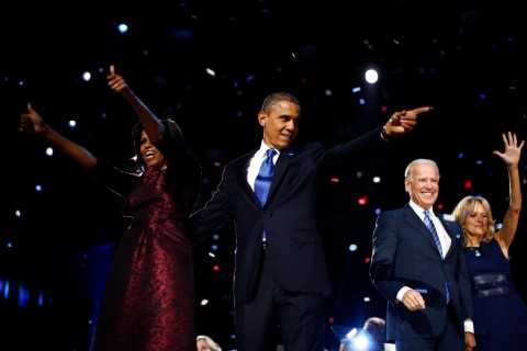 U.S. President Barack Obama celebrates with his wife Michelle, his Vice President Joe Biden and his wife Jill after winning the U.S. presidential election in Chicago,
