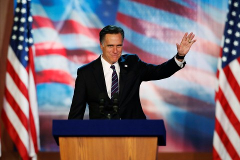 Republican presidential nominee Romney arrives to deliver his concession speech during his election night rally in Boston