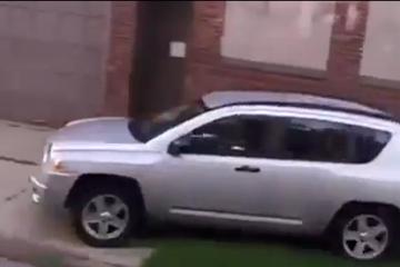 Car drives on sidewalk