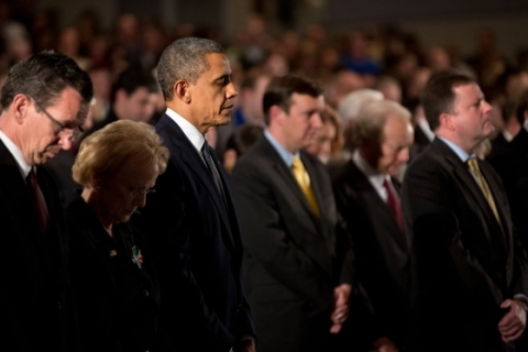 image: President Barack Obama attends the Sandy Hook interfaith vigil at Newtown High School in Newtown, Conn., Dec. 16, 2012.