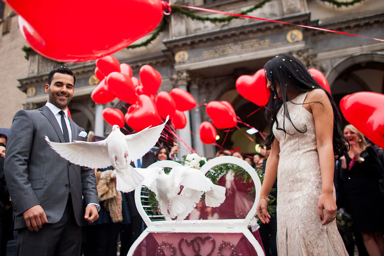 image: Oezguer and Baris celebrate their wedding in Cologne, Germany.