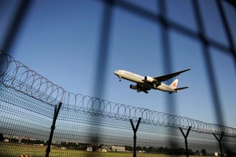 An Air China plane prepares to land