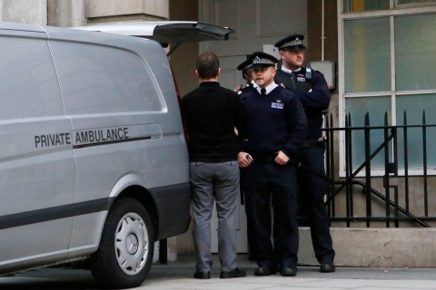 A private ambulance is loaded with a body at the block of flats where the nurse Jacintha Saldanha lived near the King Edward VII Hospital in central London on Dec. 7, 2012.