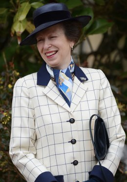 image: Britain's Princess Anne leaves Saint George's Chapel in Windsor Castle after attending the Easter Mattins Service, April 8, 2012.