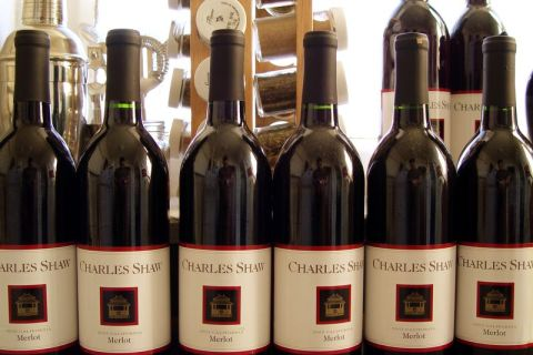 "image: An array of ""two buck chuck,"" Trader Joe's bargain wine, is displayed on January 9, 2004."