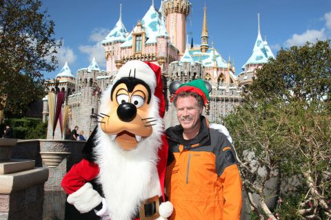 image: Actor Will Ferrell poses with Goofy in front of Disneyland in Anaheim, Calif. on November 9, 2012.