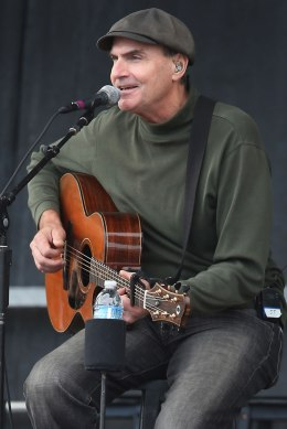 image: James Taylor performs during a campaign rally for President Barack Obama at Elm Street Middle School in Nashua, N.H., Oct. 27, 2012.